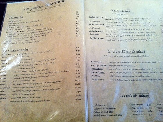 creperie broceliande menu